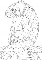filme naruto para colorir - Sasuke