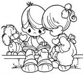 criancas lendo para colorir
