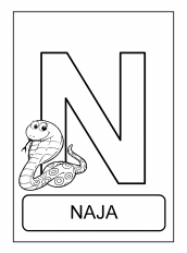 alfabeto de animais N para colorir